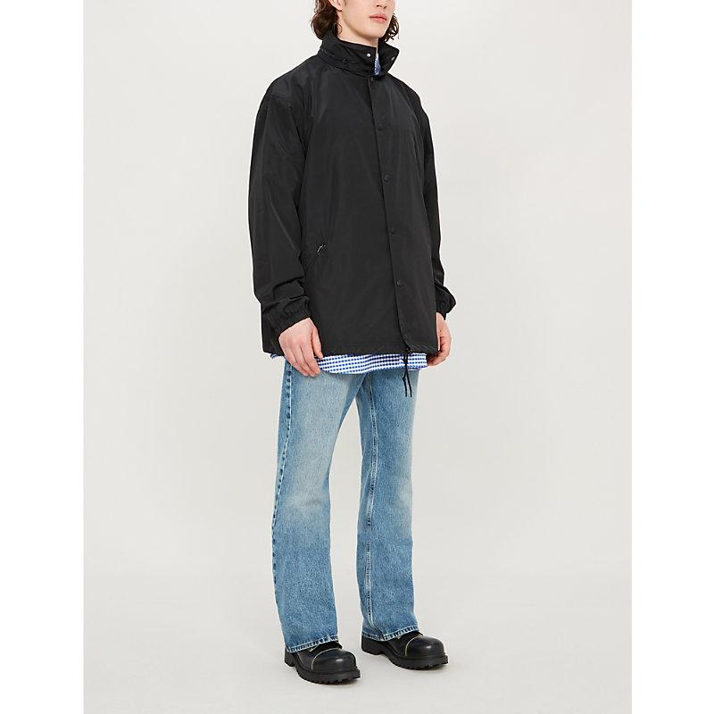 BALENCIAGA | Logo-Print Oversized Shell Hooded Jacket | Goxip