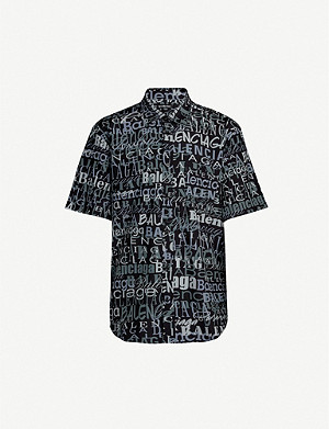 BALENCIAGA Branded-pattern regular-fit silk shirt