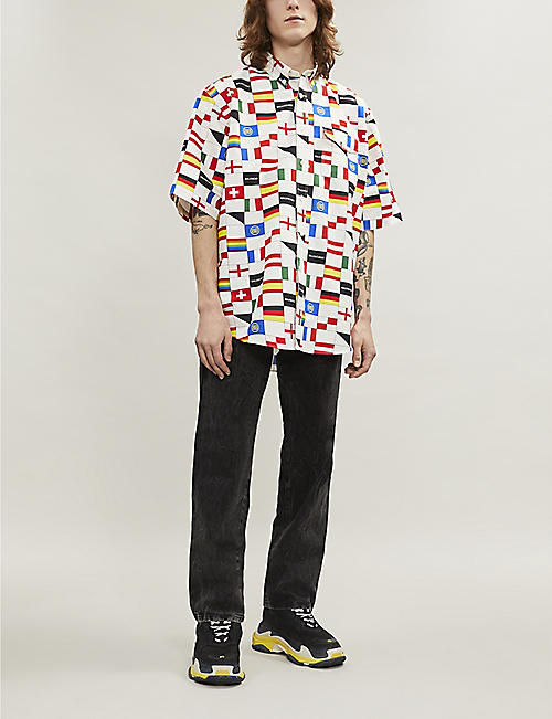 BALENCIAGA Flag-print regular-fit cotton shirt