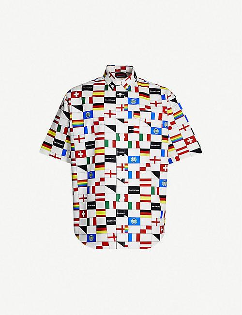 10daf9b92 BALENCIAGA Flag-print regular-fit cotton shirt