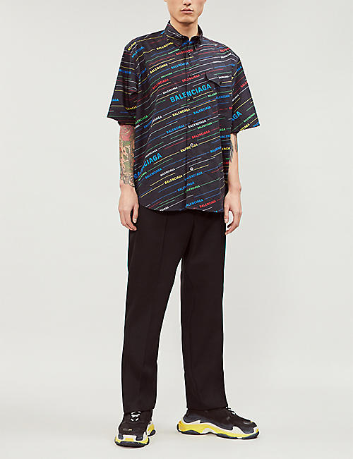BALENCIAGA Logo-print regular-fit cotton shirt