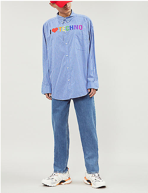 ae4ae714 BALENCIAGA I Love Techno oversized-fit cotton-jersey shirt · Quick Shop