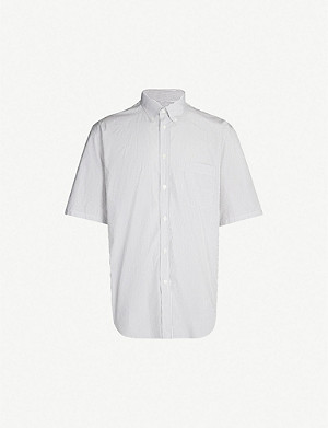 BALENCIAGA Logo-print striped regular-fit cotton shirt