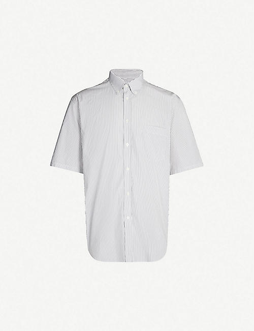 28998d0a BALENCIAGA Logo-print striped regular-fit cotton shirt