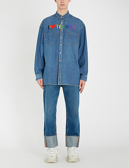 BALENCIAGA Techno-embroidered denim shirt