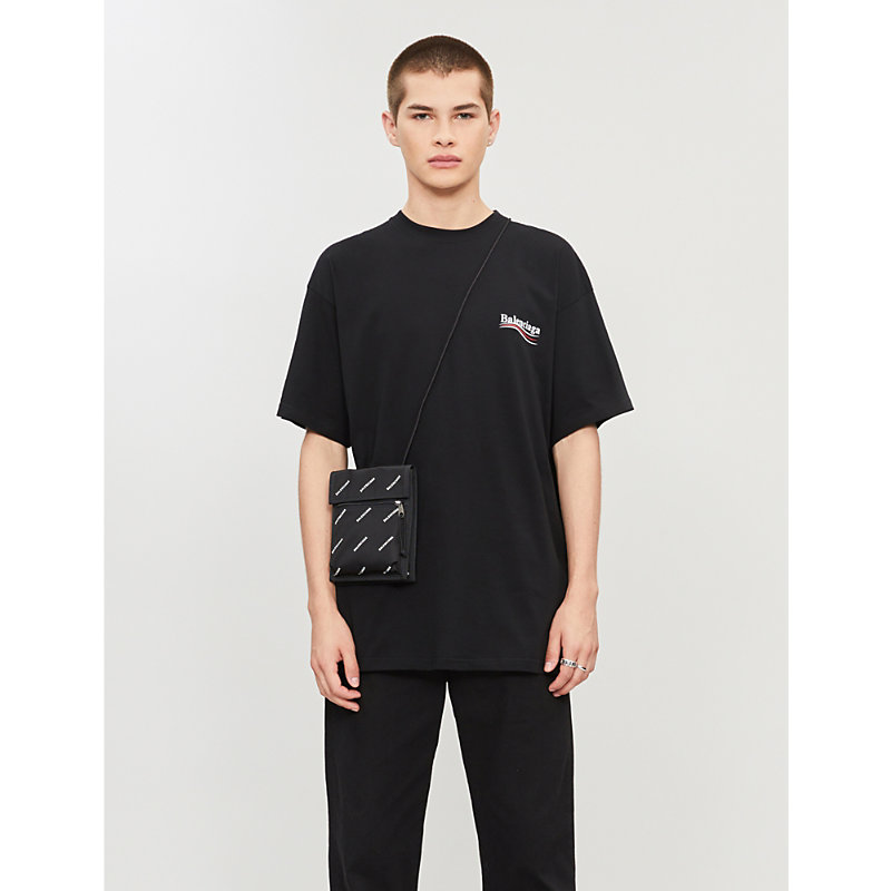 530dd5d427b0 Balenciaga Oversized Logo-Print Cotton-Jersey T-Shirt In Black ...