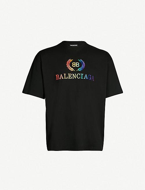BALENCIAGA Laurier logo-print cotton-jersey T-shirt da77b9717