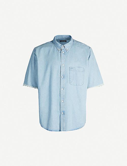 ba46738f8 BALENCIAGA Logo-print relaxed-fit denim shirt
