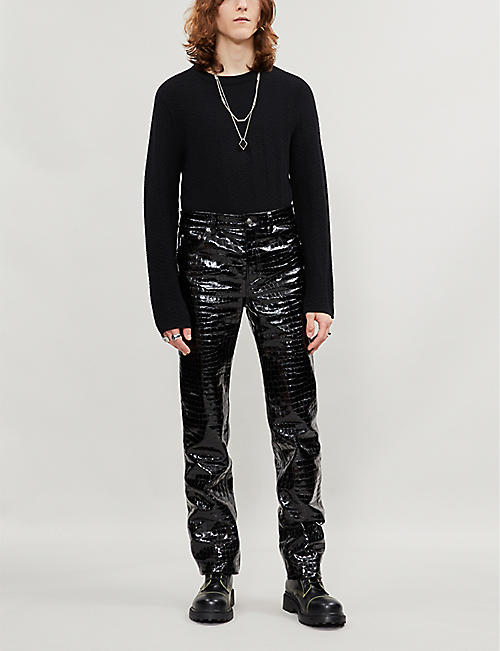 BALENCIAGA Snake-print regular-fit straight leather trousers