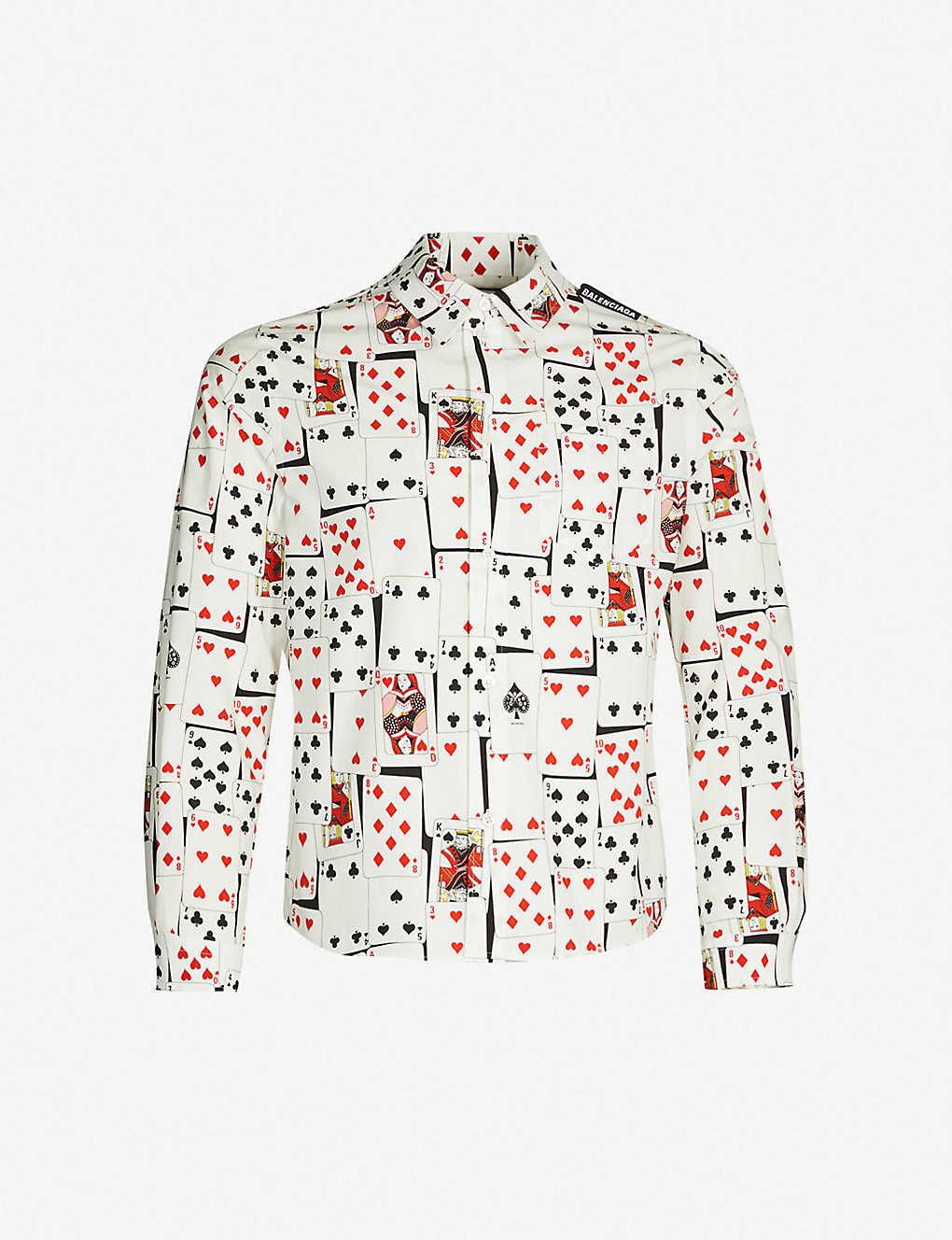 4de48f1ce7e8 BALENCIAGA - Card-print slim-fit cotton-poplin shirt   Selfridges.com