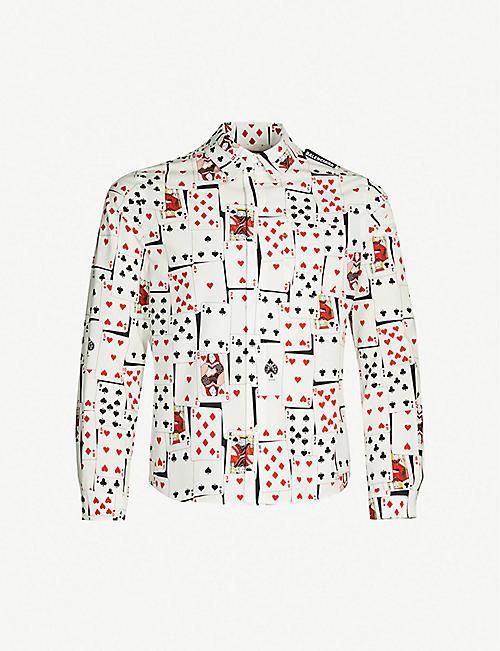 671675a91 BALENCIAGA Card-print slim-fit cotton-poplin shirt