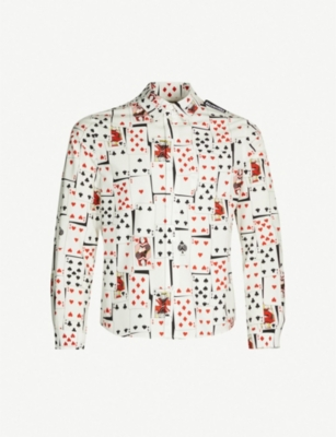 BALENCIAGA Card-print slim-fit cotton-poplin shirt