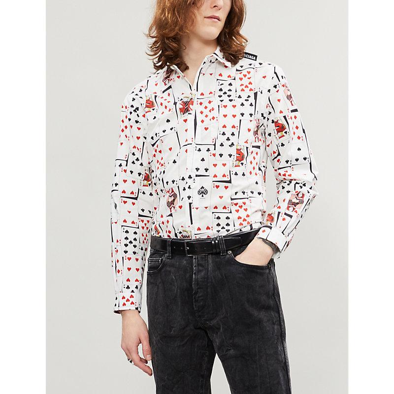 BALENCIAGA | Card-Print Slim-Fit Cotton-Poplin Shirt | Goxip