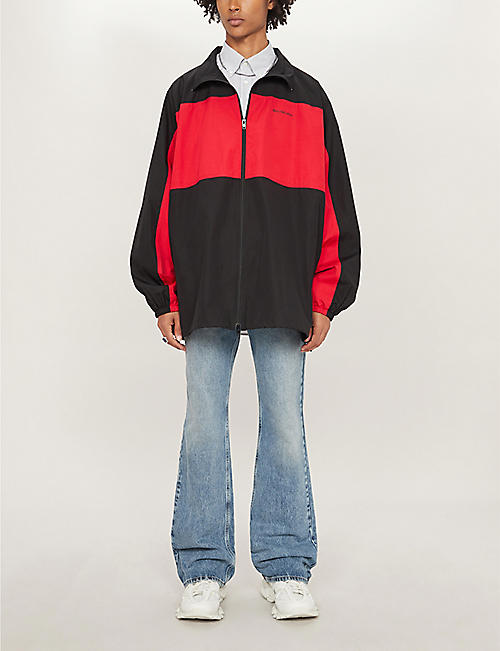 BALENCIAGA Logo-print colour-blocked cotton jacket