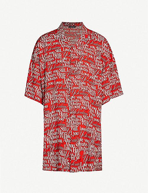 b224e074617 BALENCIAGA Oversized love-print woven shirt