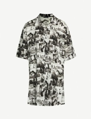 BALENCIAGA Oversized photo-print woven shirt