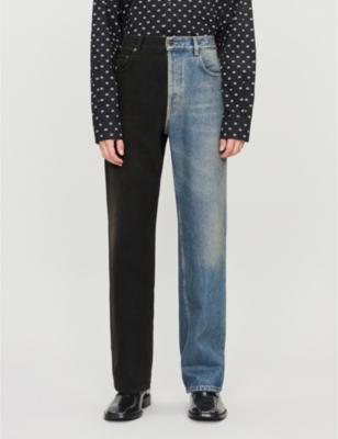 newest 2c11e 9e1f6 BALENCIAGA Two-tone wide jeans