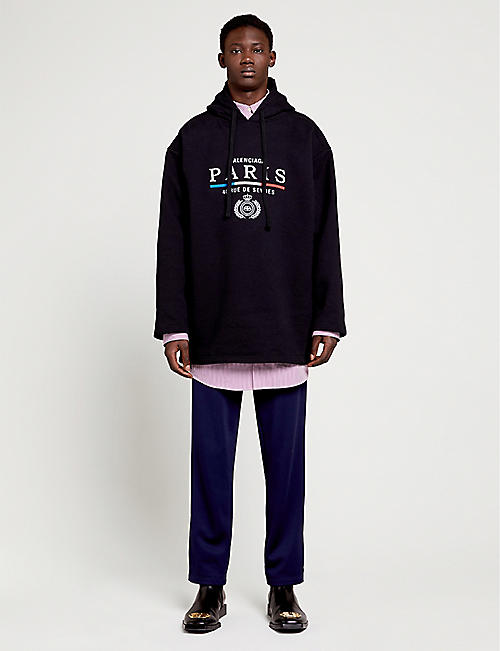 BALENCIAGA Graphic-print cotton-jersey hoody