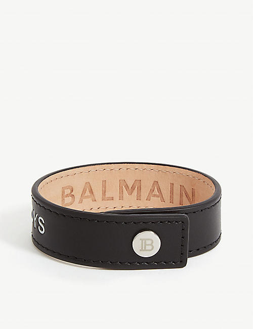 BALMAIN Slogan-printed leather snap bracelet