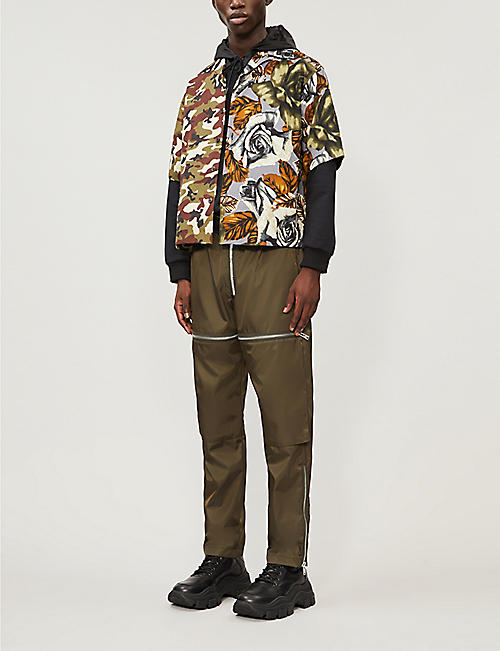 PRADA Camouflage and rose-print cotton shirt