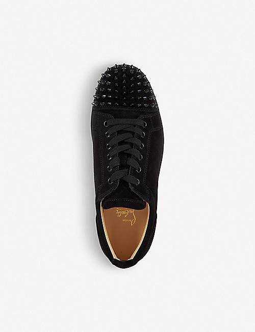 CHRISTIAN LOUBOUTIN Louis Junior Spikes flat veau velours