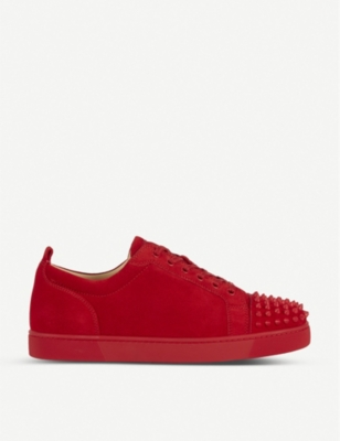 CHRISTIAN LOUBOUTIN Louis junior spikes flat veau velours/gg