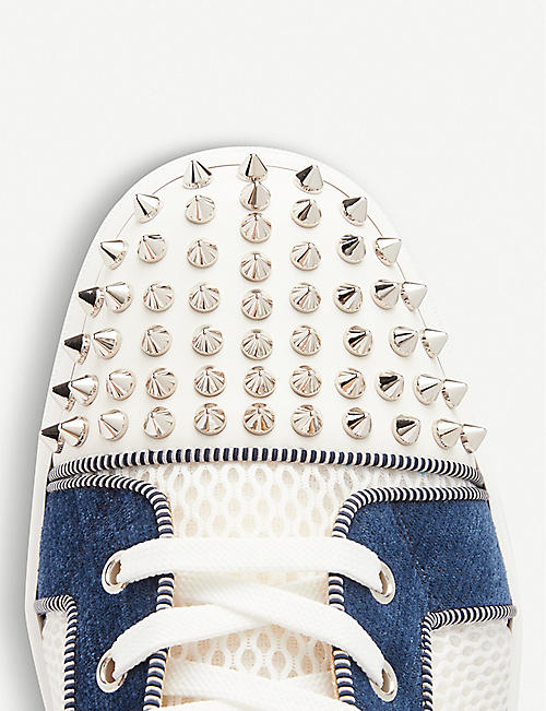 CHRISTIAN LOUBOUTIN Orlato spike-embellished leather and mesh trainers