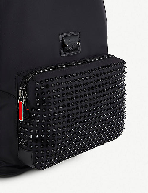 CHRISTIAN LOUBOUTIN Backloubi nylon/calf emp/spikes black