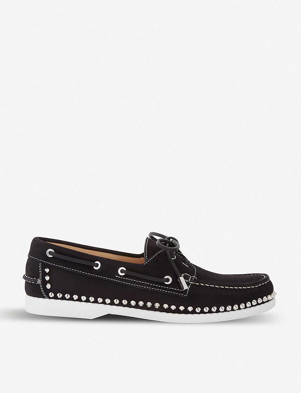 5e9c711760d09 CHRISTIAN LOUBOUTIN - Steckel flat calf nabuck black | Selfridges.com