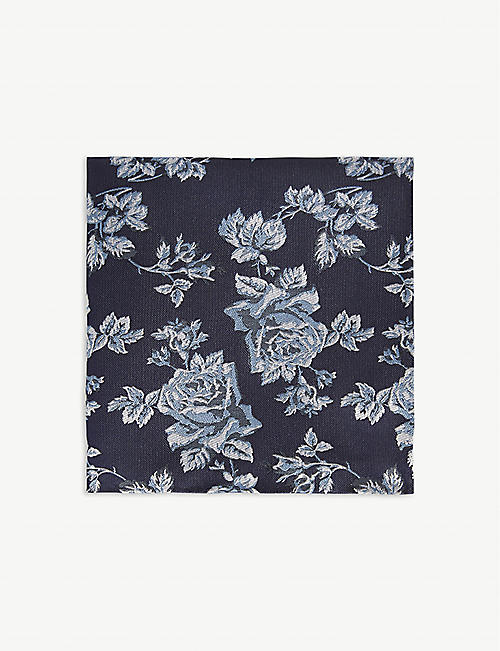 DUCHAMP LONDON Floral rose pocket square