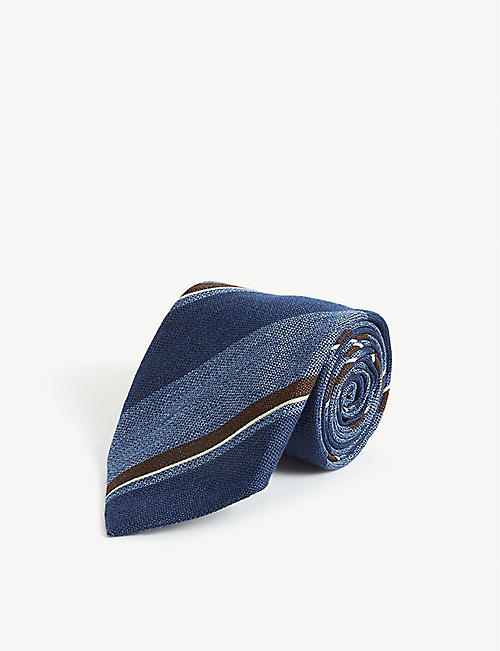 BIGI CRAVATTE Multi-stripe print silk and wool-blend tie