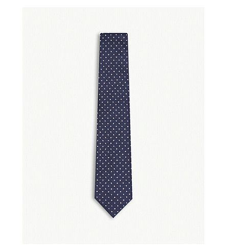 7c66be51a1e Grid-patterned mini floral print silk tie