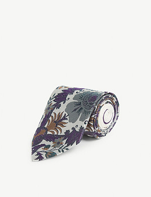 DRIES VAN NOTEN Floral jacquard silk tie