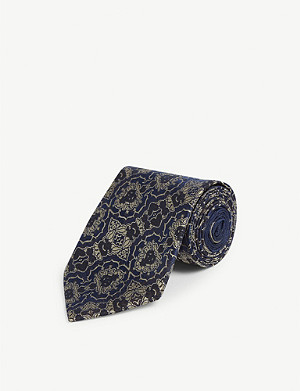DRIES VAN NOTEN Floral print silk tie