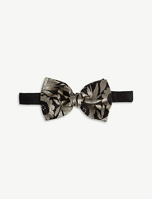 DRIES VAN NOTEN Floral jacquard silk bowtie