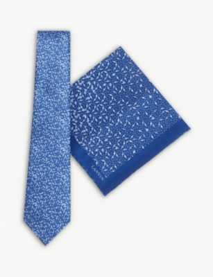 LANVIN Mosaic print silk tie and pocket square set