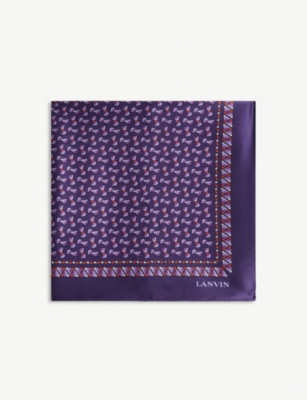 LANVIN Bow print silk tie and pocket square