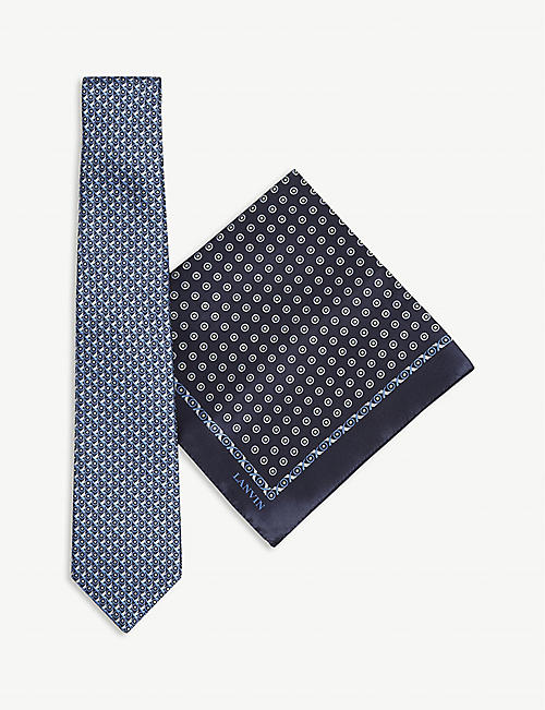 LANVIN Silk tie and pocket square set