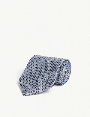 SALVATORE FERRAGAMO Scattered Gianco logo silk tie