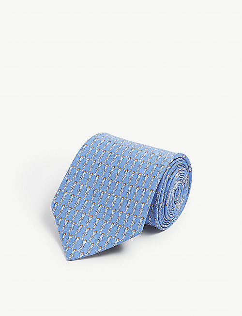 SALVATORE FERRAGAMO Cycle print silk tie