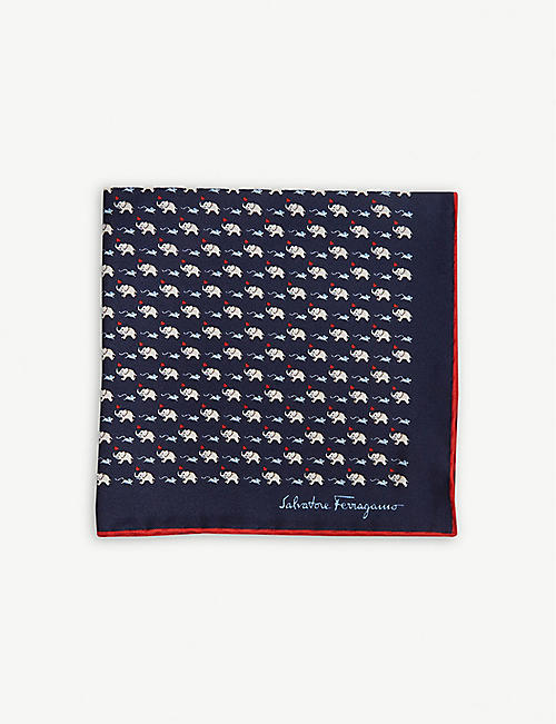 49642e1fc139 SALVATORE FERRAGAMO Elephant and mouse print silk pocket square