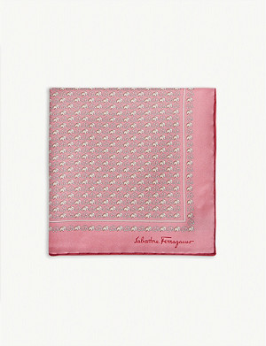SALVATORE FERRAGAMO Elephant silk pocket square