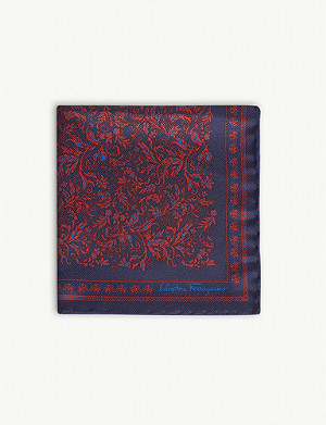 SALVATORE FERRAGAMO Paisley print silk pocket square