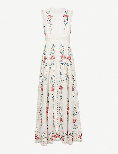 535c201fb5278 ZIMMERMANN Laelia Cross Stitch linen and cotton-blend midi dress