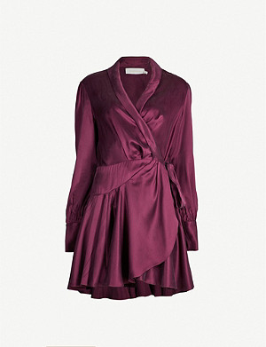 ZIMMERMANN Belted silk wrap mini dress
