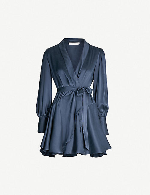 ZIMMERMANN: Belted silk wrap mini dress