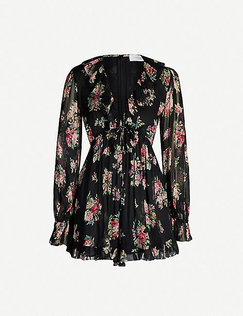 ZIMMERMANN Honour V-neck floral-print silk-chiffon playsuit