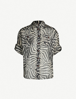 ZIMMERMANN Corsage Safari python-print linen and silk-blend shirt