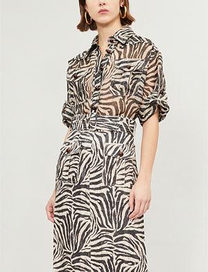 459a4d3b7e7c9b ZIMMERMANN Corsage Safari python-print linen and silk-blend shirt