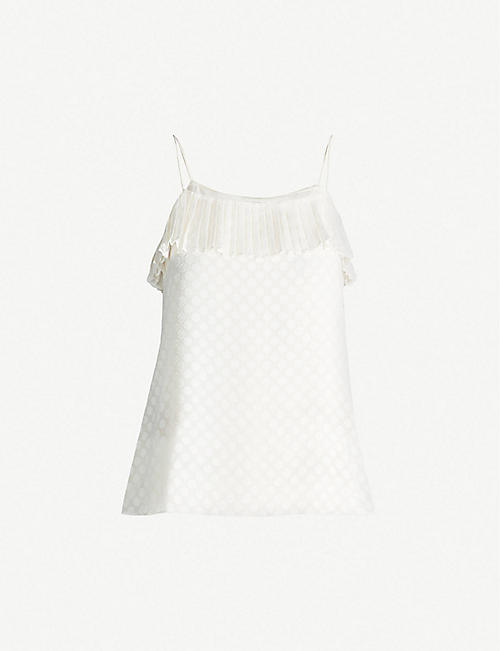 ZIMMERMANN Polka dot crepe sleeveless top